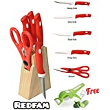 REDFAM Stainless Steel Knife-Set With Wooden-Block Set Of 5 Pieces With Knife Scissors Cutlery Stand With 1 Peeler Cutter Combo For Fruit Vegetables