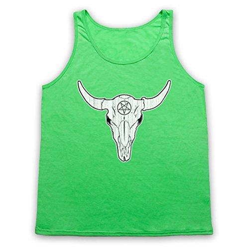 Buffalo Skull Illustration Tank-Top Weste Neon Grun