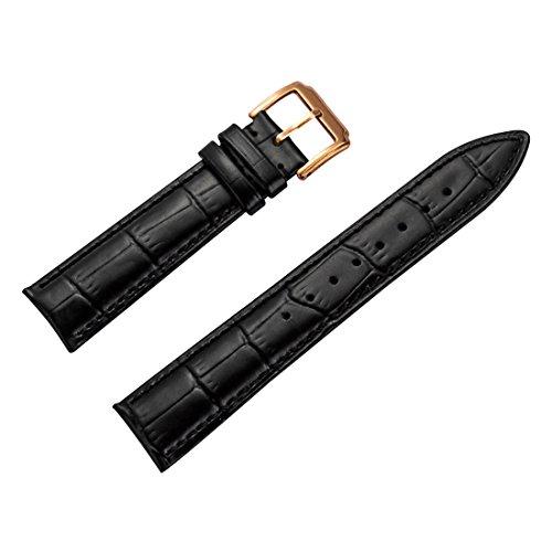 hochwertiges Lederarmband schwarz mit Roségold Schnalle 16mm