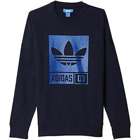 adidas Street Grp Crew - Sudadera para hombre, color azul / gris , talla M