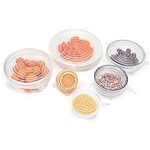 Browill Silikon-Frischhalte-Deckel [6 Stück] dehnbar & flexibel Die stretchbare Alternative zu Frischhaltefolie,umweltfreundlich, wiederverwendbar für Dosen, Schüsseln, Becher, etc.