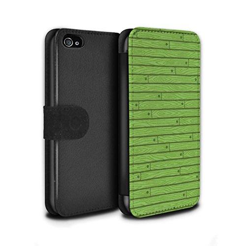Stuff4 Coque/Etui/Housse Cuir PU Case/Cover pour Apple iPhone 4/4S / Pack Design / Motif Bois Collection Vert
