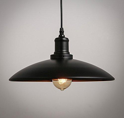 E27 Métal Retro Suspensions Luminaires Vintage Plafonnier Industrielle Suspensions Lumiere Lampe E27 Edison Culot LED Metal Plafonnier Luminaire(Noir)