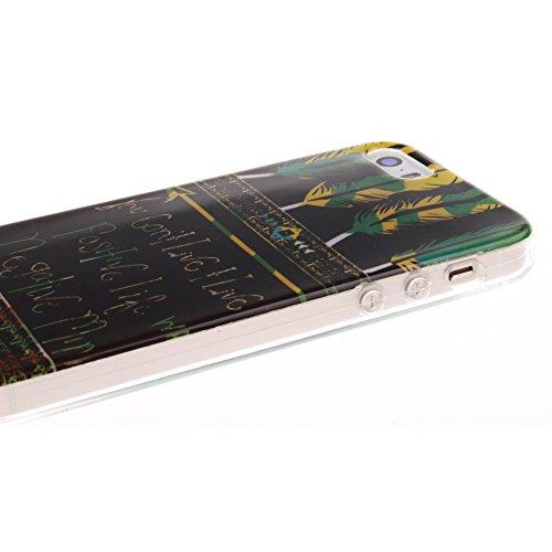 Pour Apple iPhone 5/5S Cas, MCHSHOP Ultra-mince TPU Silicone Cover souple Phone Housse Coque de protection pour iPhone 5/5S - 1 gratuit Touch Pen (Abricotier de fleur) Plumes aztèques tribaux vivre une vie positive