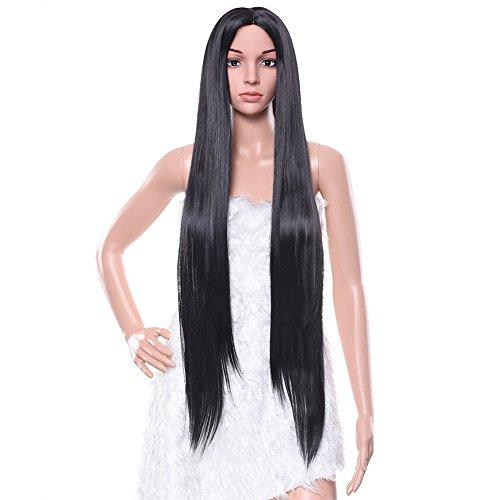 Pretty See Multifonction perruques longues Cheveux ondulés bouclés pour cosplay, fête costumes ou usage quotidien, noir