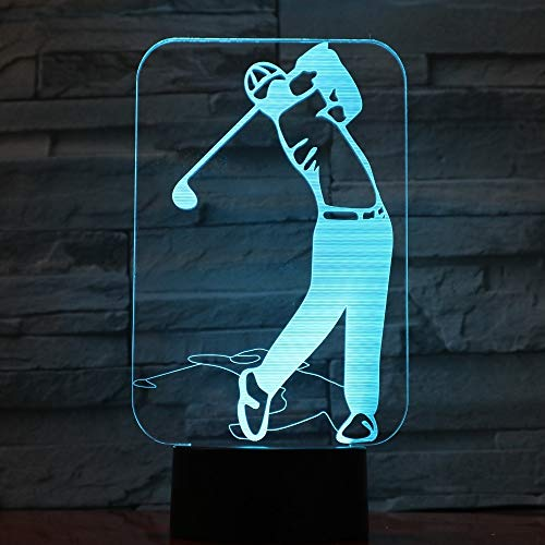 wangZJ 3d Illusion Lamp / 3d Led Night Light / 3d Visual Lampada creativa/mood lampada / 7 colori Night Light/Golf Player