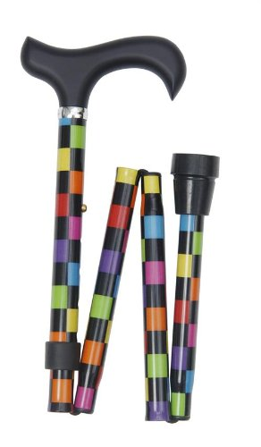 Classic Canes - Bastone da passeggio pieghevole, altezza regolabile, motivo a scacchi, multicolore