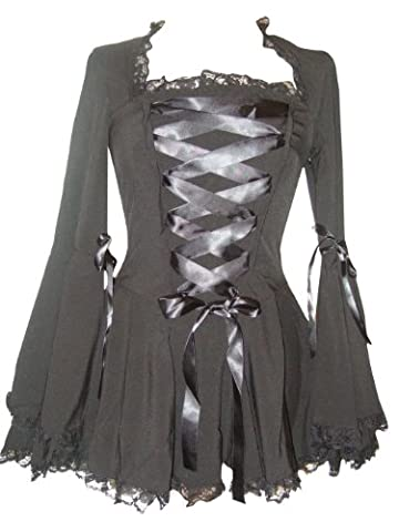 Size 24 Black Lace Gothic Corset Lace Vampire Twilight Bell Sleeve Top