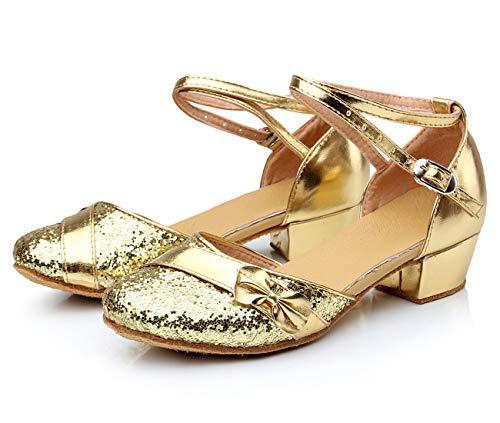 APTRO Mädchen Tanzschuhe für Latein Salsa Ballsaal Dance Schuhe mit Schleife Gold 31
