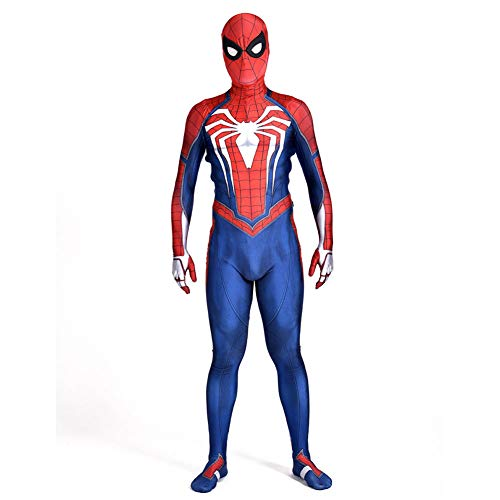 POIUYT Kind Erwachsene Männer Cosplay Eisen Spider-Man Halloween Avengers Elastic Lycra Skinny 3D-Druck Mit Abnehmbarer Maske Outfit Set Für,Adult-M(150-160cm)
