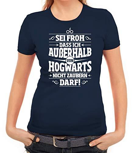 ShirtStreet Fanartikel Fan Kult Film Damen Frauen T-Shirt Rundhals Außerhalb von Hogwarts, Größe: S,dunkelblau
