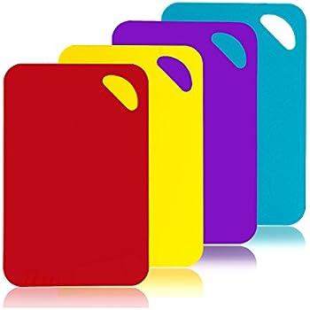Chopping Board Set Colour Coded Plastic Non Stick Non Slip Chopping Boards Set of 4 Red Blue Green Purple