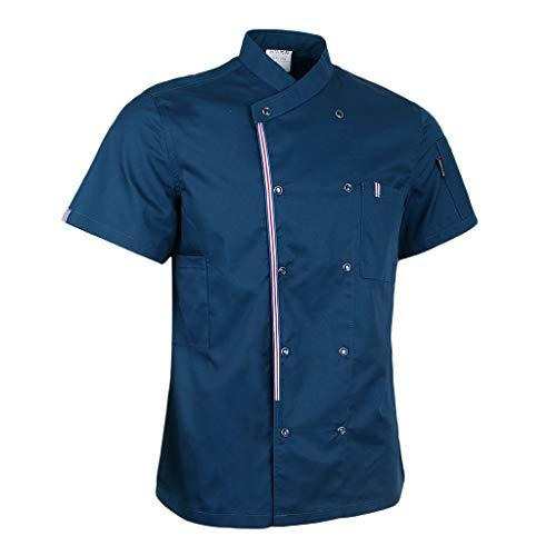 P Prettyia Atmunngsaktiv Kochjakce Bäckerjacke mit Druckknöpfe Kochbekleidung Arbeitskleidung Berufsbekleidung Arbeitsjacke für Gastronomie - Blau, M - 4