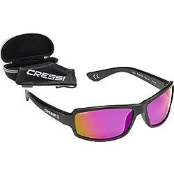 Cressi Ninja Floating - Gafas Flotantes Polarizadas para Deportes con una protección 100% UV Adultos Unisex, Negro/Lentes Morado Espejadas