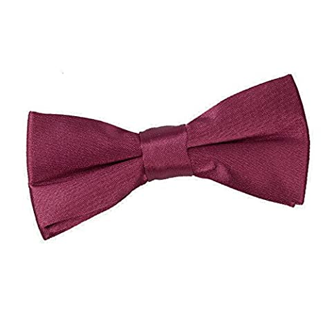 DQT Premium Plain Satin Glossy Finish Solid Burgundy Kids Children Boy's Formal Casual Wedding Tuxedo Pre-tied Bow
