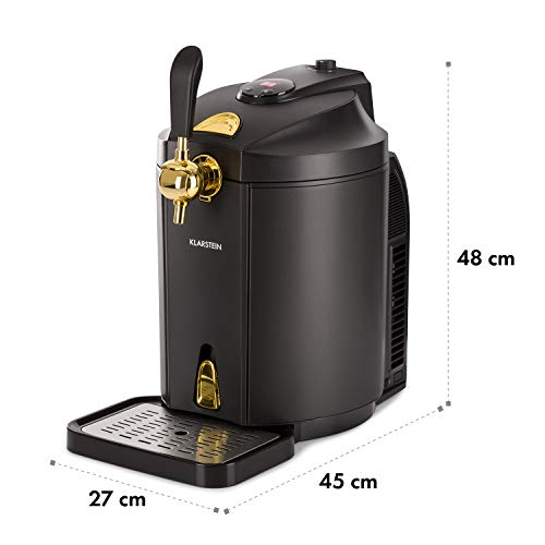 Klarstein Skal Black Edition - Dispensador y enfriador de cerveza, Apto para barriles 5 L, Enfriamiento...