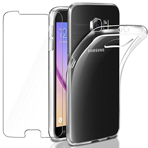 Leathlux Samsung Galaxy S6 Hülle + Panzerglas, Samsung S6 Durchsichtig Case Transparent Silikon TPU Schutzhülle Premium 9H Gehärtetes Glas für Samsung Galaxy S6 G920 (Telefon Samsung Galaxy S6)