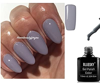 Bluesky QXG809 Medium Grey Nail Gel Polish UV LED Soak Off 10ml PLUS 2 Luvlinail Shine Wipes