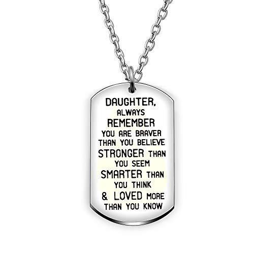 Anhänger Halskette Tochter Graduierung Geschenke Always Remember Aufschrift You Are Braver stärker Schlauer als Sie Think - Armband Silber Lehrer