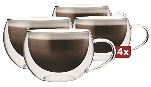 Maxxo Doppelwandige Gläser Cappuccino Set 4X 300 ml Kaffee Thermogläser mit Schwebe-Effekt beständige Kaffeegläser Trinkgläser
