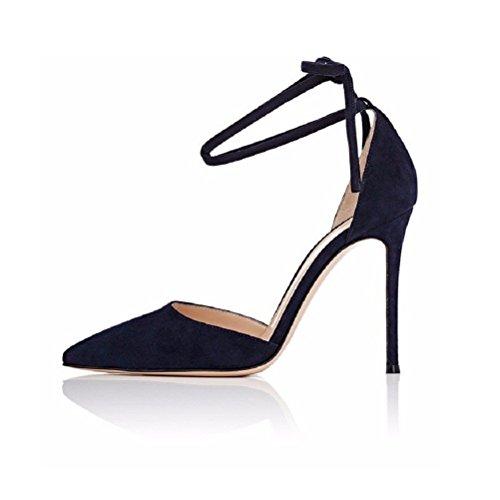 Kolnoo Damen D'Orsay Pumps Stiletto High Heel Pointed Toe Ankle Strap Damenschuhe Größe EU40