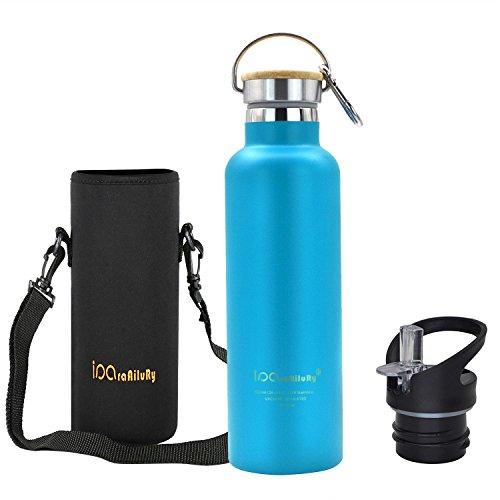 iParaAiluRy Trinkflasche Edelstahl mit Bambus Kappe (2 Trinkverschlüsse) - BPA freie Thermosflaschen 500/600/750/1000ml - Vakuumisolierte Doppelwandig Thermoskanne (Blau a, 750ml(26,46oz))