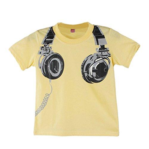 iläufige Kopfhörer Kurzschluss Hülsen Oberseiten T-Stücke. (Size:120, Gelb) (Nautische Baby-mädchen-kleidung)