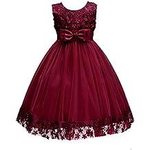 MIOIM Vestidos Elegante Para niñas - Retro Estilo TuTu Para Princesa U-Cuello y Sin