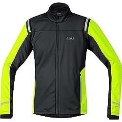 Gore Running Wear Chaqueta De Correr Para Hombre Gore Windstopper Soft Shell Myhtos 2.0 Talla M Negro/Amarillo