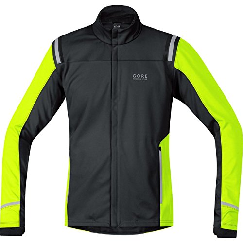 GORE WEAR Herren Jacke Mythos 2.0 Windstopper Soft Shell Schwarz/Neon Gelb, L Windstopper