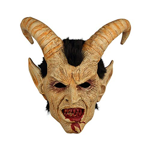 Maske YN Menschliches Gesicht Lucifer Hood Halloween Show Horror Dämonen Hörner Hörner Filmrequisiten Kopfbedeckungen