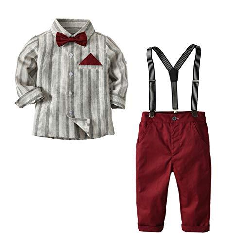 CARETOO Baby Jungen Anzug Bekleidungssets Baumwolle Mantel+Langarm Hemd+Hose+Hosenträger+Fliege Krawatte Gentleman Taufe Hochzeit für Herbst, Rot Ohne Schwarzen Mantel, Label 120 / 4-5 Jaher