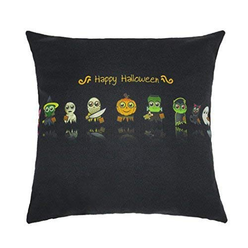 ! Square Pillow Case, Charming Happy Halloween Linen Sofa Pumpkin Ghosts Home Decor Cushion Cover (E) I