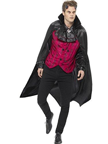 Smiffys, Herren Eleganter Teufel Kostüm, Weste mit Hemd und Umhang, Größe: XL, 46843 (Böse Hexe Des Westens Kostüm Für Erwachsene)