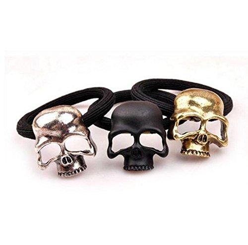 Linda decoración Encantadora 3 unids Punk Gothic Metal Skull Hair Tie Cuerda Bandas De Goma Cráneo Bandas Elásticas del Pelo Joyería-Al Azar