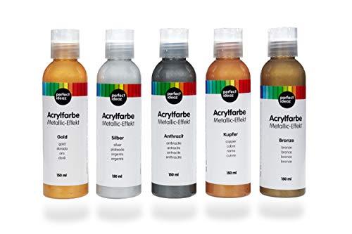 perfect ideaz 5 x 150 ml Acryl-Farbe Metallic (750 ml), 5 Verschiedene Kreativ-Mal-Farben, hoher Anteil an Farb-Pigmenten, Acrylic Paint hoch-deckend & schnell-trocknend, ideal zum Malen & Zeichnen