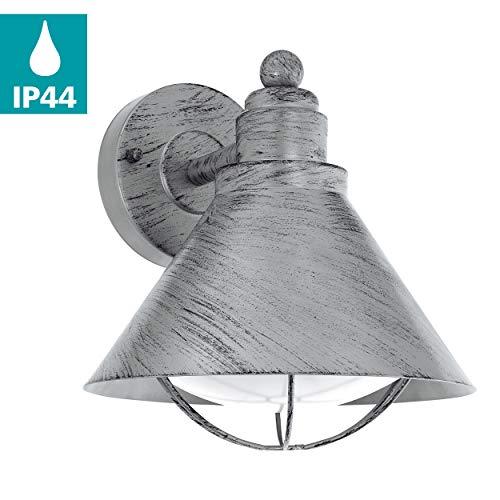 EGLO Außen-Wandlampe Barrosela, 1 flammige Außenleuchte, Wandleuchte aus Stahl verzinkt, Farbe: Silber-antik, Fassung: E27, IP44 -