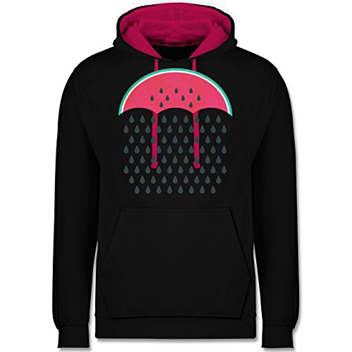 Statement Shirts - Watermelon Rain - Kontrast Hoodie Schwarz/Fuchsia