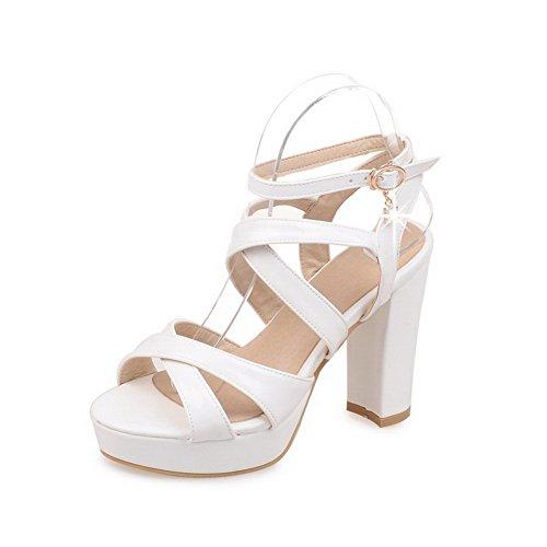 Senhoras Allhqfashion Pu Couro Puro Fivela Sandálias De Salto Alto Com Alta Branco
