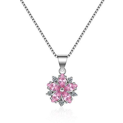XG S925 Sterling Silber Weibchen SchlüSselbein Kette KirschblüTe Leichte Antiallergische Diamant AnhäNger Halskette (Juwel Auf Der Krone)