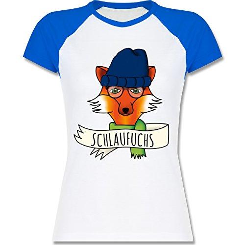 Shirtracer Eulen, Füchse & Co. - Schlaufuchs - Zweifarbiges Baseballshirt/Raglan T-Shirt für Damen Weiß/Royalblau