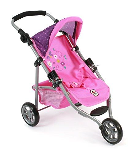 """Bayer Chic 2000 612 40 - Jogging Buggy """"Lola"""", Kleiner Puppenwagen für Puppen bis 50 cm Dots, Purple Pink"""