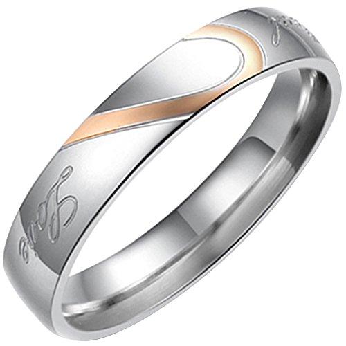 Flongo ステンレス リング 指輪 レディース Love & ハート モチーフ 刻印入 ゴールド シルバー(銀)-「10」