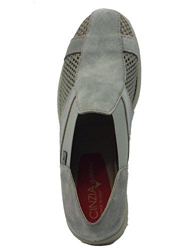 Mocassini Cinzia Soft per donna in nabuk e tessuto grigio traforato Grigio