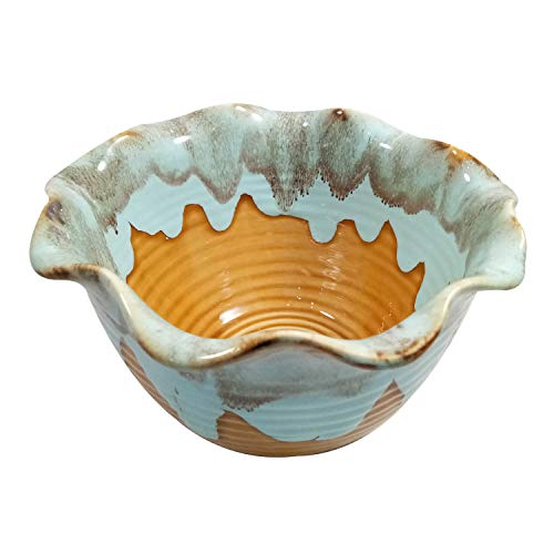 India Meets India Thanksgiving Handicraft Ceramic Serving Bowl Mixing Bowls Fruit Bowl Salad Bowl Snack Bowl, 1000ml. Best Gifting Made by Awarded Indian Artisan