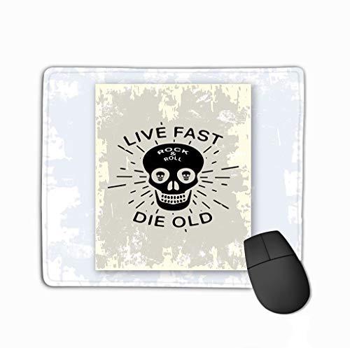 Mouse Pad Print Design Print Design Rock roll Vintage Stamp Slogan live Fast die Old Printing Badge Applique Label Rectangle Rubber Mousepad 11.81 X 9.84 Inch -