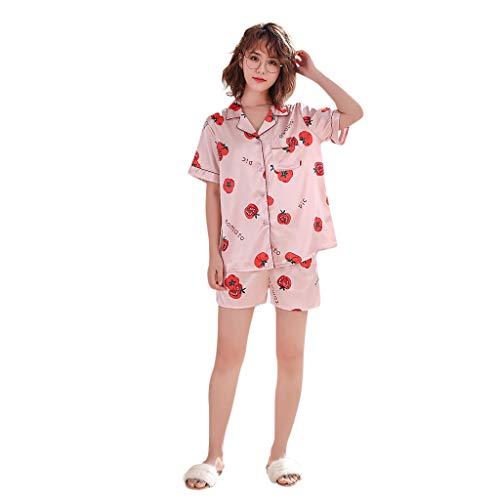 Darringls Frauen Simulation Silk Printing Pattern Pyjamas Nachtwäsche Nachtwäsche Set Damen Schlafanzug Shorts Pyjam Sommer Sleepwear Pattern Sommer Casual Sleepwear Mode 2019
