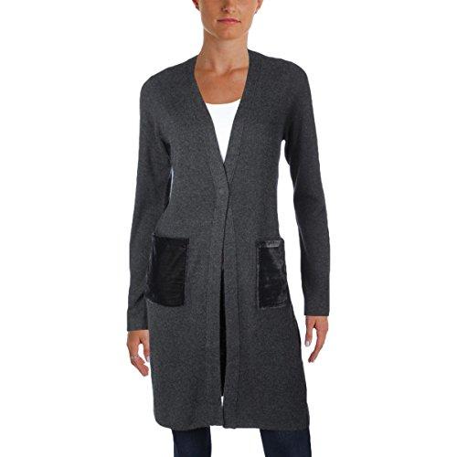 T Tahari Womens Desma Velvet Trim Open Front Cardigan Sweater Gray XS (Womens Velvet Trim)