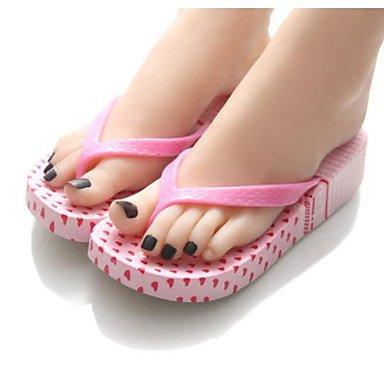zhENfu donna pantofole & amp; flip-flops Estate Slingback Casual in gomma tacco piatto Blu Rosso Nero Ruby
