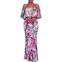 Synker Femmes Épaules Nue Plissée Robe Longue Maxi Robe De Soirée Floral Imprimé Robe De Cocktail